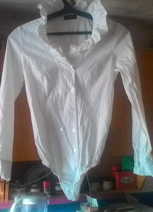 Белоснежное боди рубашка хлопковая