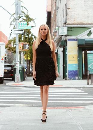 Платье черное плиссе шифоновое endless rose оригинал нарядное вечернее выпускное