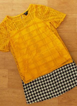 Прозрачная блузка сетка с вышивкой f&f