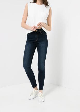 Скинни джинсы mango синие высокая посадка