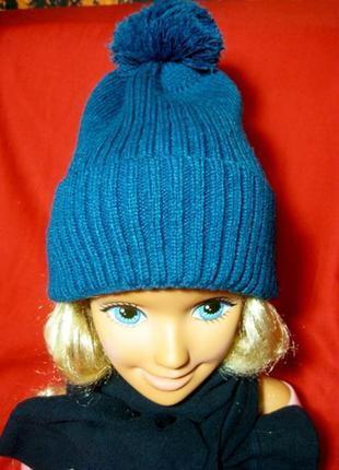 Красивая шапочка цвета морской волны 56-57р.