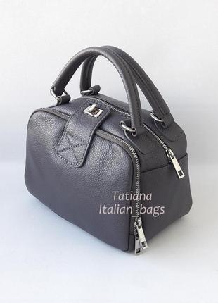 Крутая кожаная сумка мини чемоданчик, серая. италия