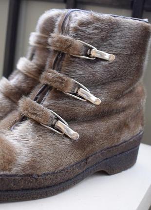 Шикарные меховые ботинки ботильоны р.37/38 23,5-24 см мех нерпы овчина