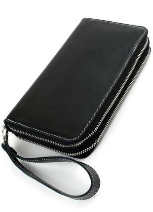 Клатч мужской кожаный crez (черный гладкий)