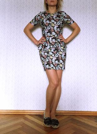 Короткое платье в цветочек h&m