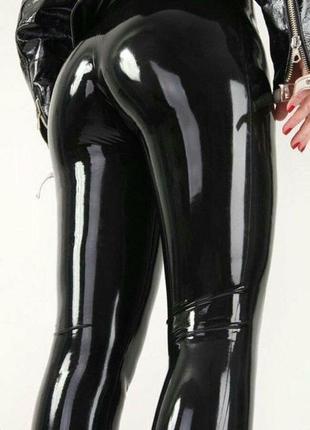 Лаковые кожаные лосины леггинсы виниловые зеркальные латексные штаны мокрый эффект1