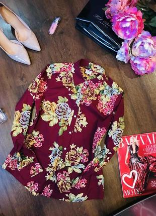 Брендовая цветастая рубашка бордового цвета esprit.