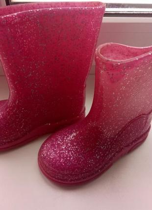 Сапоги резиновые розовые с блестками. для настоящих принцесс