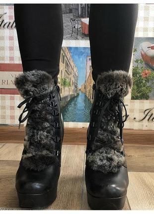 Зимние ботинки кожа внутри овчина