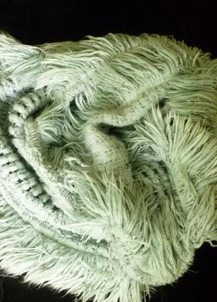 Мятный мягкий пушистый теплый снуд шарф бахрома river island