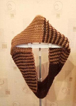 Снуд вязаный коричневый шарф