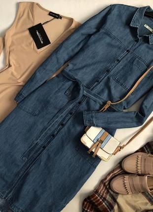 Трендовое джинсовое платье рубашка миди pull & bear