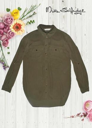 Асимметричная рубашка хаки с золотыми пуговицами miss selfridge