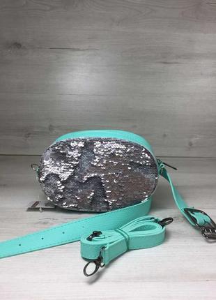 Женская сумка на пояс- клатч мятного цвета пайетки серебро-серебро