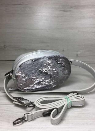 Женская сумка на пояс- клатч серебряного цвета пайетки серебро-серебро