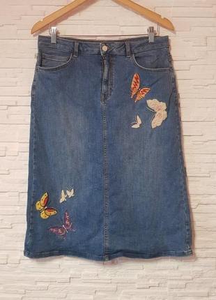 Джинсовая вышитая миди юбка бабочки m&s