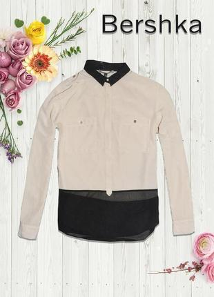 Рубашка кремово-черная bershka