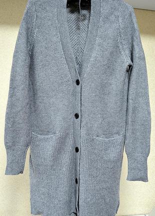 Длинный, теплый, крупной вязки кардиган с карманами фирмы esqualo