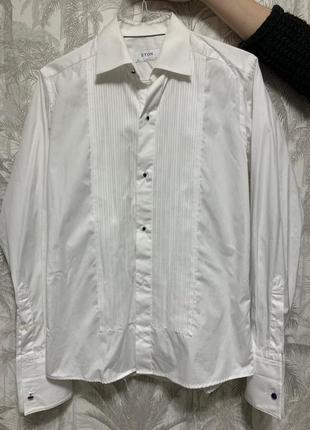 Классическая мужская рубашка с запонками eton slim
