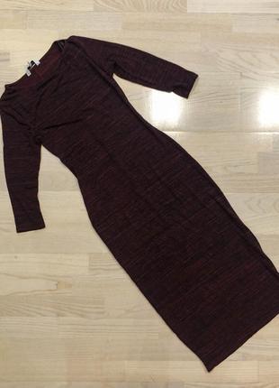Длиное бордовое платье в обтяжку new look