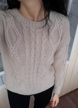 Трендовый свитерок в крупную вязку