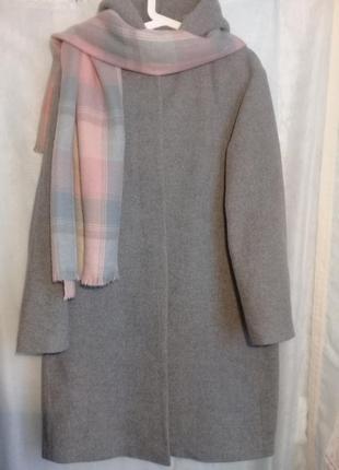 Пальто бойфренд капюшон шерсть в составе р. 48-50  от uniqlo