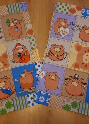 Кухонное вафельное полотенце набор 2 шт с хрюшками свинками