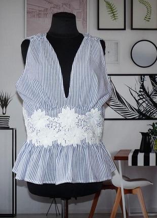 Блуза топ коттоновая в полоску с кружевной отделкой
