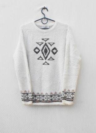 Осенний зимний свитер травка свитшот с длинным рукавом с орнаментом