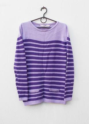 Осенний зимний вязаный мягкий шерстяной свитер с длинным рукавом в полоску