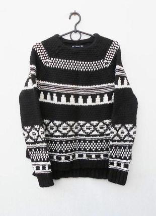 Теплый зимний свитер свитшот крупной вязки с орнаментом 14% шерсть 7 % шерсть алпака zara
