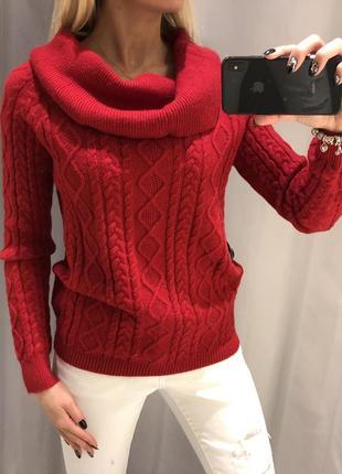 Красный свитер с объёмным горлом вязаный свитерок. reserved.