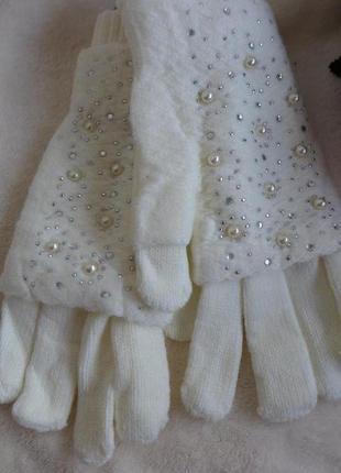 Перчатки очень теплый пинетки 2в 1 шерсть/вязка (митенки) разные цвета