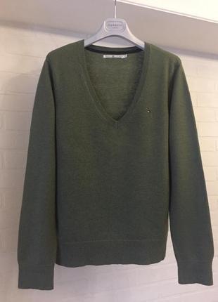 Оливковый свитер tommy hilfiger шерсть размер xl наш 48-50 оригинал