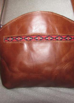 Сумка crossbody 100% натуральная кожа в этно стиле
