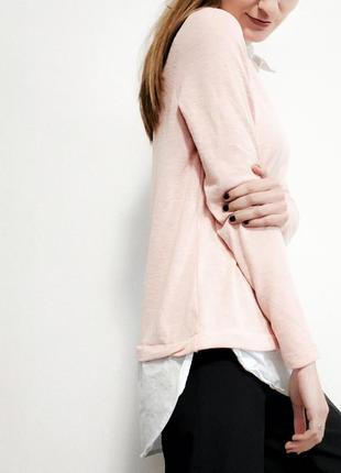 Красивый розовый свитер с рубашкой