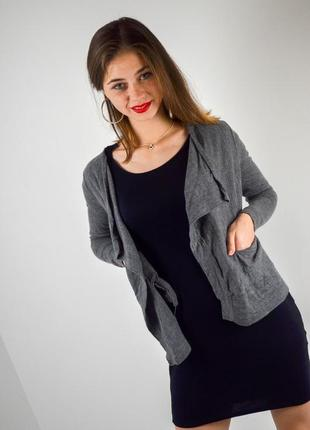 Cos серый меланжевый кардиган из шерсти без застежки, шерстяная накидка, кофта