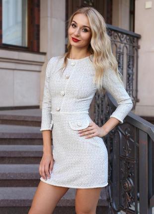 Твидовое платье в стиле шанель