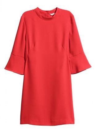 Красное короткое платье h&m