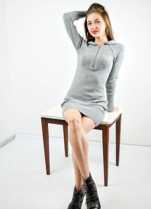 Armani exchange серое трикотажное мини платье на молнии с капюшоном по фигуре