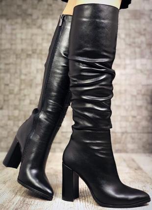 Кожаные зимние сапоги чулки на широком каблуке с узким носком. 36-40