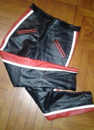 Крутые  кожаные брюки/плотная кожа/яркие лампасы