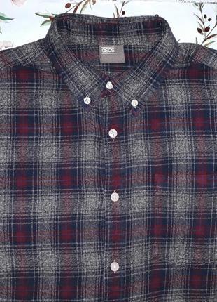 Крутая теплая рубашка asos в модную клетку, размер 44-46