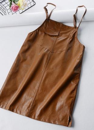 Женский кожаный сарафан комбинезон