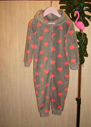 Флисовый плюшевый комбинезон-пижама на рост 92см