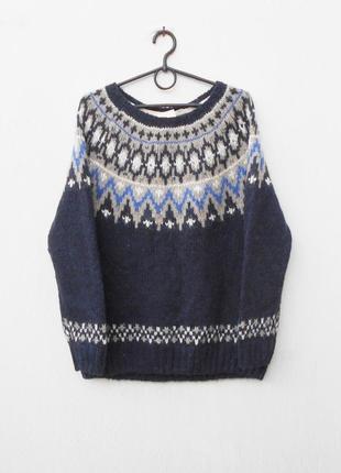 Теплый осенний зимний свитер свитшот крупной вязки с шерстью алпака с орнаментом
