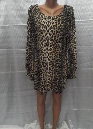 Леопардовая платье-туника с интересным рукавом