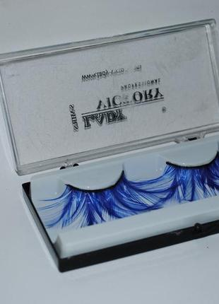 Накладные ресницы перья синего цвета креатив макияж снежной королевы, снегурочки