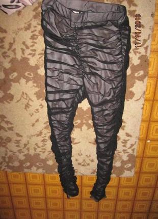Лосины -штаны телесные сверху черная сетка р с-м