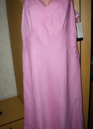 Нежное розовое платье, 100% лен, новое